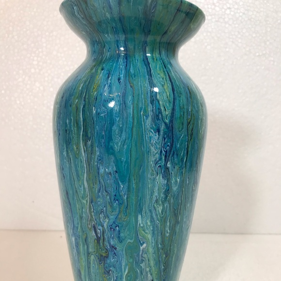 "Handmade Other - Hand painted glass Vase Original New 10"" y'all"